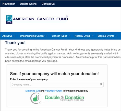 Thank You Letter For Donation To American Cancer Society Market Matching Gifts To Maximize Your Matching Gift Revenue
