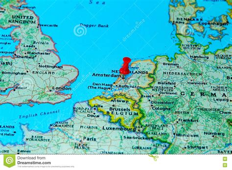 amsterdam netherlands map europe amsterdam netherlands pinned on a map of europe stock