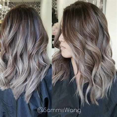 brown long hair with grey aroung front image result for ash brown balayage pinteres