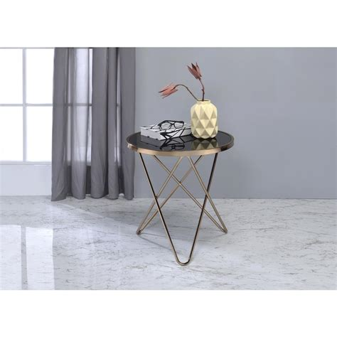 black glass top end tables acme furniture valora chagne and black glass top end
