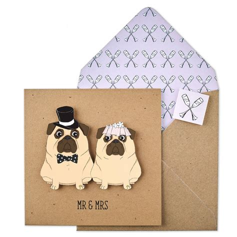 pug wedding card mr and mrs wedding pugs personalised card by tache notonthehighstreet