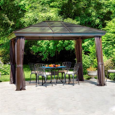 gazebo 8x10 shop gazebo penguin brown aluminum rectangle screened