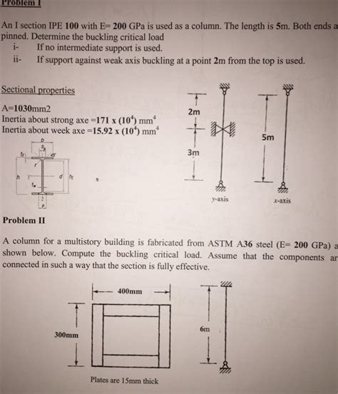 problem 1 an i section ipe 100 with e 200 gpa is