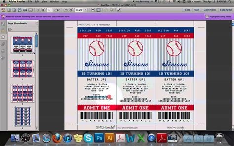 free printable sports tickets baseball ticket invitation youtube