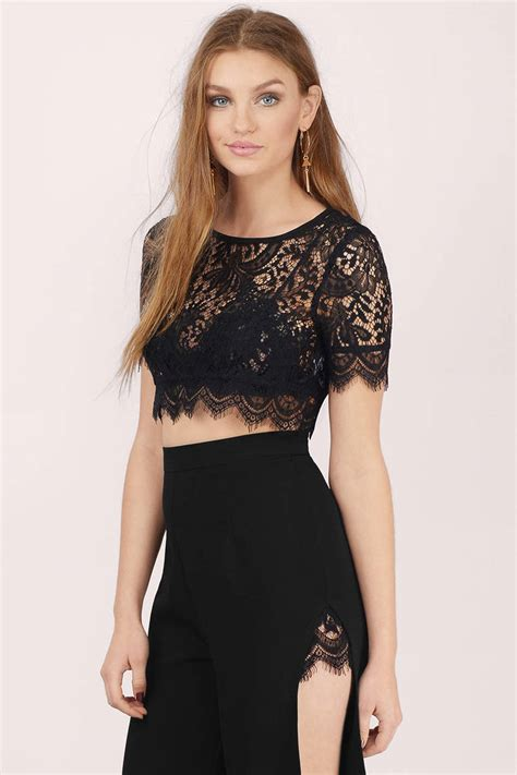 Top Lace Crop black crop top black top boat neck top lace crop top