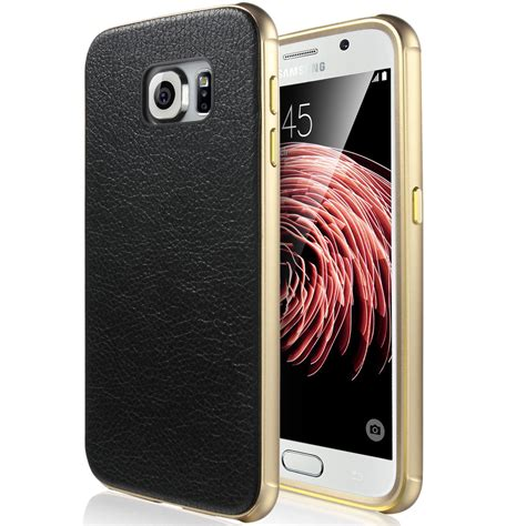 Samsung Galaxy S6 Edge Leather Bumper Business luxury leather metal aluminum bumper frame cover for samsug galaxy s6 edge ebay