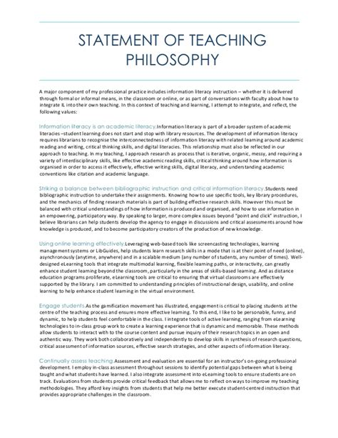 Statement Of Teaching Philosophy Teaching Philosophy Template