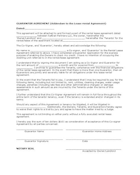 guarantee agreement template 2018 guarantor agreement form fillable printable pdf