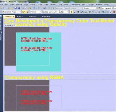 color code for transparent create a transparent color text using html 5