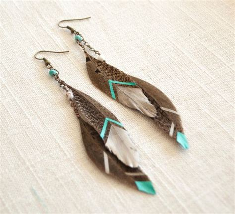 feathers for jewelry painted feather earrings jewelry pheasant teal silver