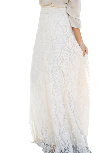 casual high waist floral lace maxi skirt oasap