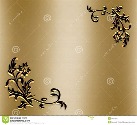 ornamental border on gold satin 3d royalty free stock