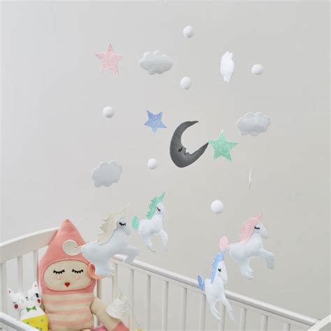unicorn cloud felt unicorn cloud and star mobile by the secret craft