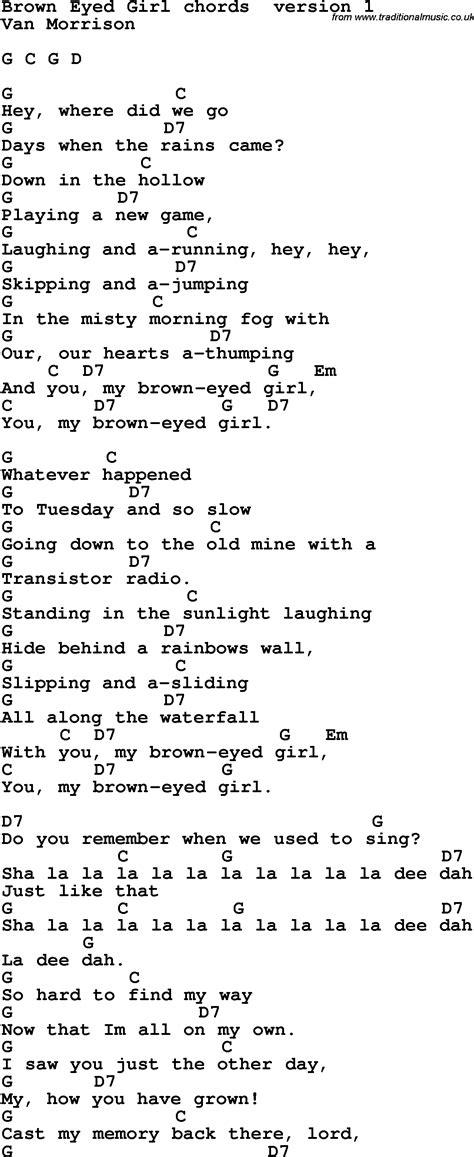 lyrics guitar chords song lyrics with guitar chords for brown eyed sheet