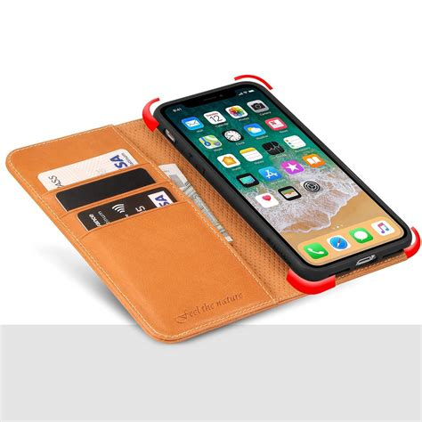 shieldon iphone x wallet with genuine leather cover iphone 10 with magnet closure