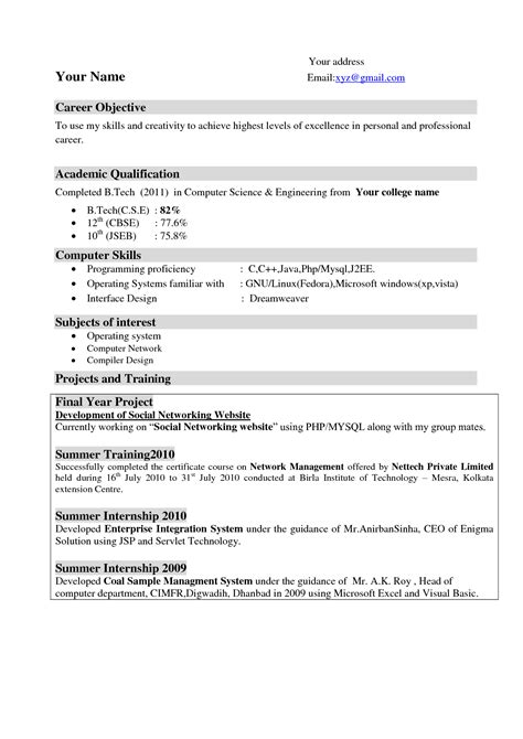 best resume format for computer teachers computer science resume format resume objective exles best resume templates