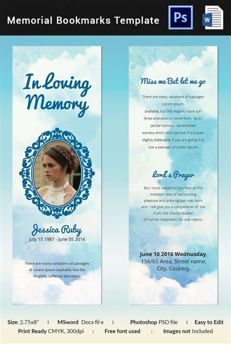 5 memorial bookmark templates free word pdf psd