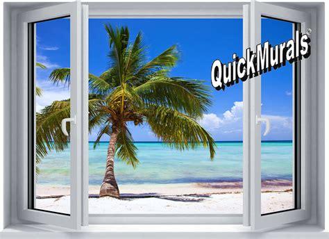 palm view window 1 piece peel amp stick wall mural