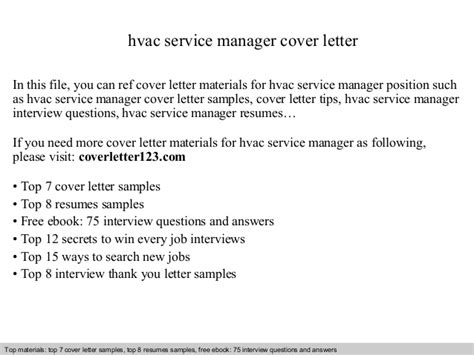 Hvac Service Manager Cover Letter Hvac Cover Letter Template