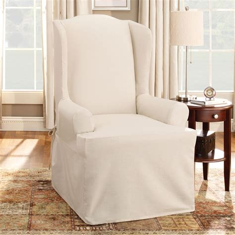 wingback sofa slipcover sure fit slipcovers cotton duck wing chair slipcover atg
