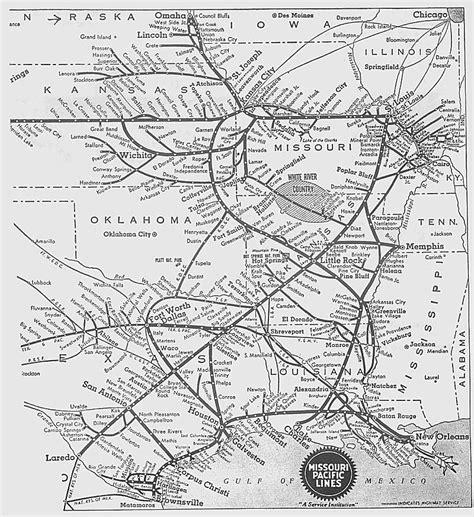 missouri pacific railroad map missouri pacific railroad map map of the white river