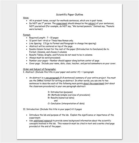 research outline template 8 for word doc pdf format