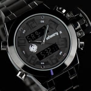 infantry uhr herrenuhr schwarz armbanduhr digitaluhr quarzuhr edelstahl neu ebay
