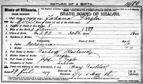 Chicago Illinois Birth Records Pergler Family History Johana Jennie Pergler Zajic 1889 1984