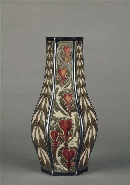 Dannis D Hexagonal emile galle hexagonal vase decorated with bleeding