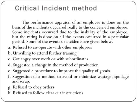 Performance Appraisal Critical Incident Procedure Template
