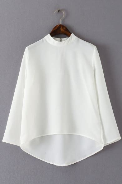 Plain Stand Collar Blouse plain stand collar sleeves high low casual blouse
