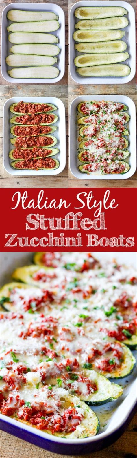 italian stuffed zucchini boats with ground beef tomatoes mozzarella italian style stuffed zucchini boats recipe yumm