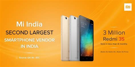 Sold Xiaomi Redmi 3s Second xiaomi sold 3 million redmi 3s series smartphones in india becomes second largest smartphone