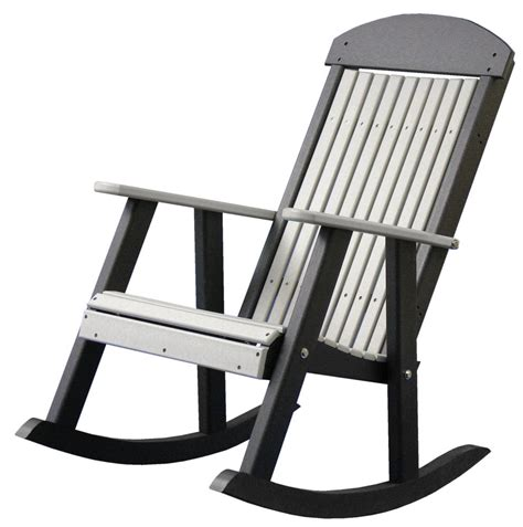 outdoor patio rocking chairs poly furniture wood porch rocker dove gray black