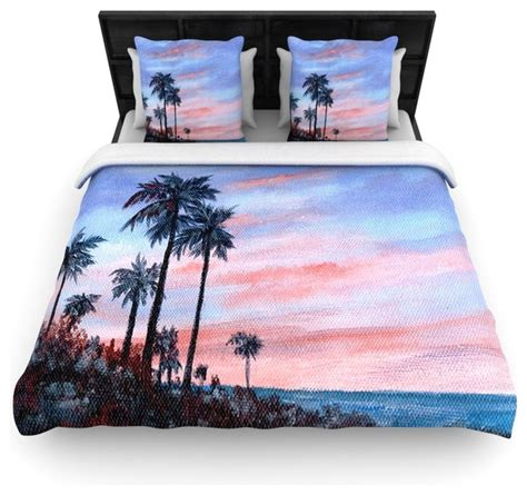 rosie brown quot florida sunset quot palm tree duvet cover