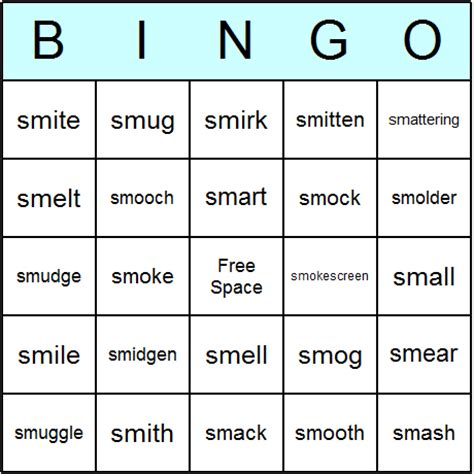 phonics consonant blends quot sm quot beginning bingo cards