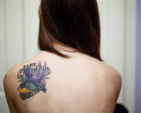 cute back tattoos bird with means everything banner back