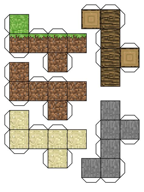 Minecraft Blocks Papercraft - free minecraft dirt block coloring pages