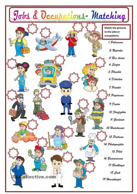 free printable english worksheets occupations 21 best images about work on pinterest english