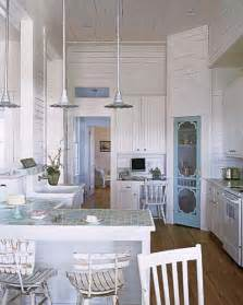 Beach Cottage Kitchen Ideas by Sun Bleached Blue And White Brilliant Interior Paint
