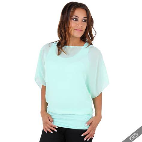 Topati Bawing Blouse krisp womens oversized batwing chiffon blouse tank top 2 in 1 plus size ebay