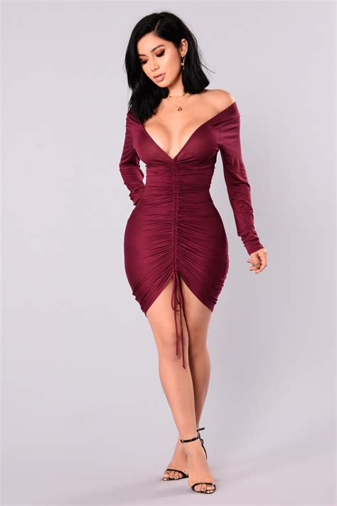 Ruched Dresses by Hong Kong Ruched Dress Wine
