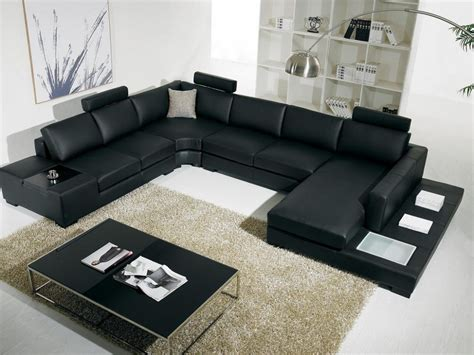 Modern Black Leather Sofa For Living Room Design 2012 Living Rooms With Black Sofas