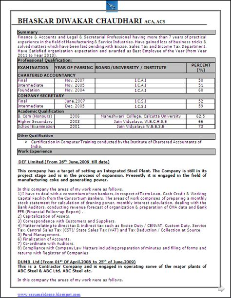 resume format chartered accountant articleship resume co excellent resume format sle in word doc