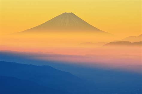 mount fuji japan volcano fog nature
