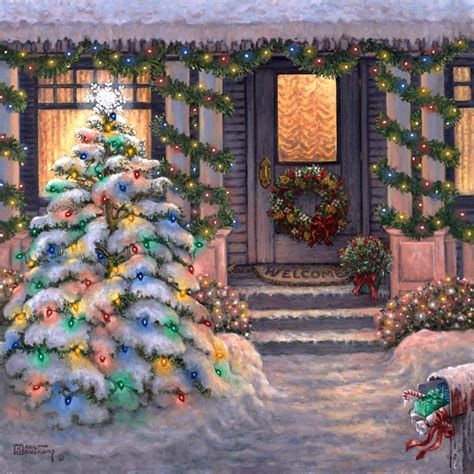 janet krusk s welcome to christmas original oil painting