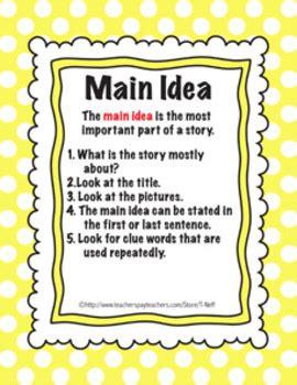 printable main idea poster main idea printable by tanya cimmento teachers pay teachers