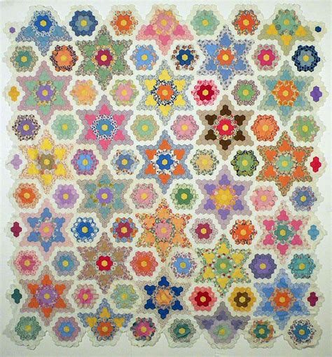 Hexagon Designs Patchwork - grandmother s flower garden quilt a q is for