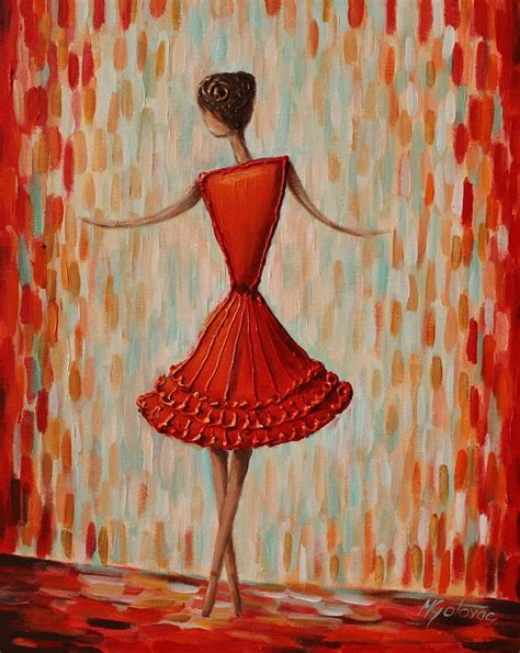 Contemporary Painting Ideas | original acrylic painting red ballerina 16x20 modern