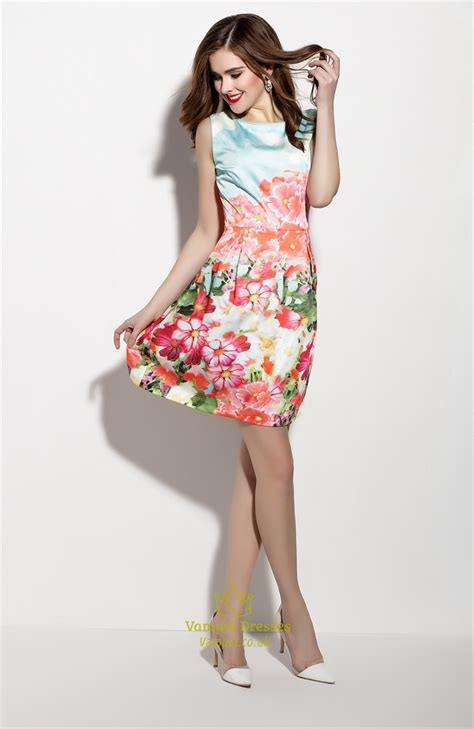 Summer Flare Dress casual summer sleeveless floral print fit and flare skater